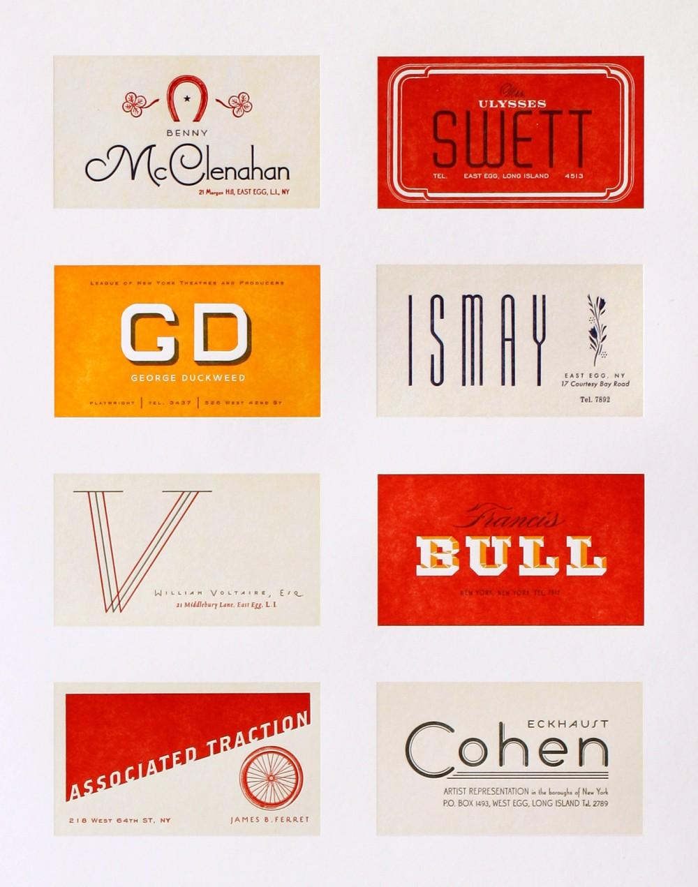 The Great Gatsby Business Card Letterpress Poster - The Heads of State