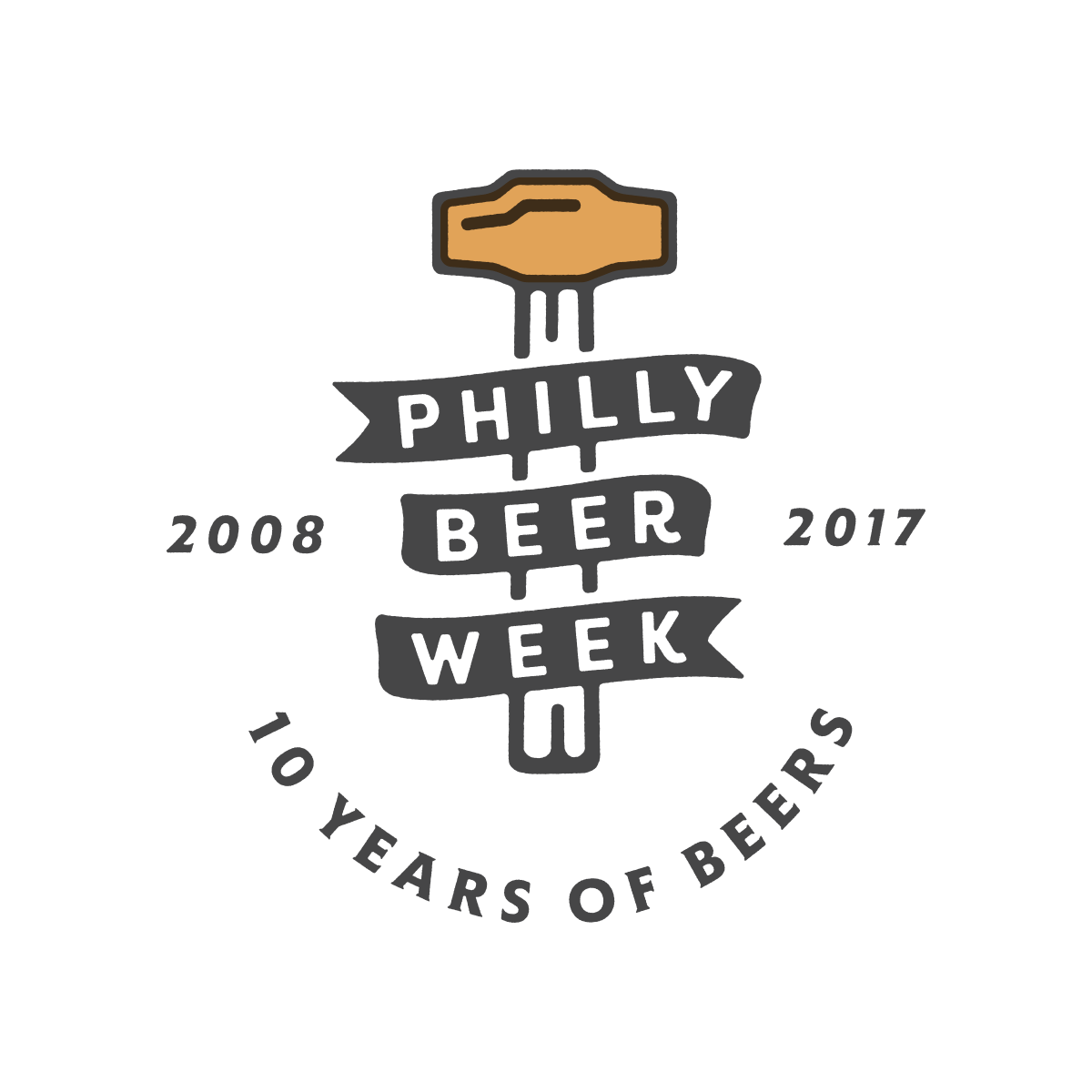 Logo for Philly Beer Week's ten year anniversary